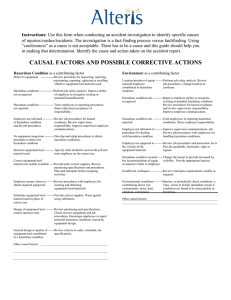 Causal Factors and Possible Corrective Actions