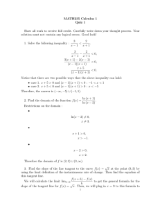 MATH235 Calculus 1 Quiz 1 Show all work to receive full credit