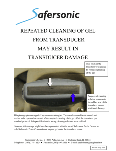 repeated cleaning of gel from transducer may result in