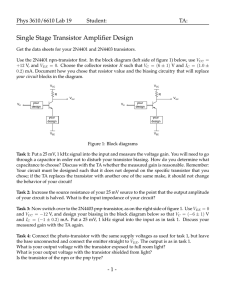 Single Stage Transistor Amplifier Design