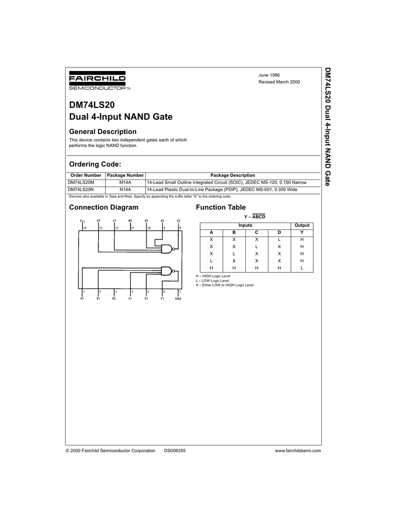 Dm74ls20 Dual 4 Input Nand Gate Circuits