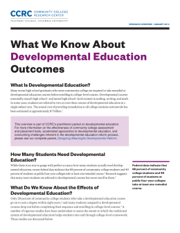 What We Know About Developmental Education Outcomes