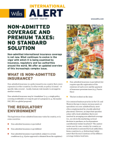 non-admitted coverage and premium taxes: no standard