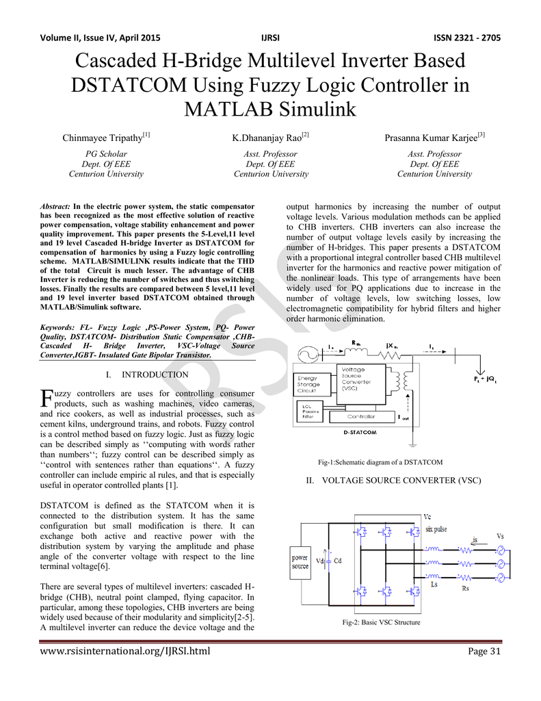 Cascaded H Bridge Multilevel Inverter Based Dstatcom Using Block Diagram 1