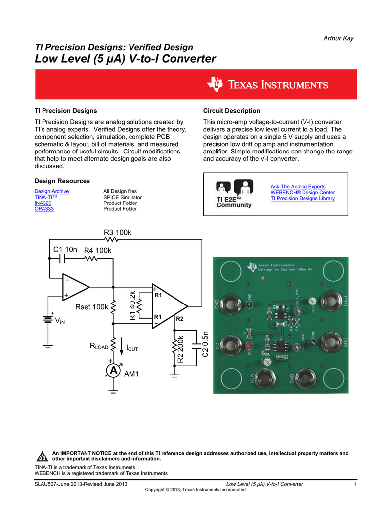 Low Level 5 A V To I Converter Current Triple Op Amp Instrumentation Amplifier With Bias