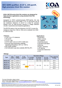 AEC-Q200 qualified, ±0.25 %, ±50 ppm/K, High precision thick film