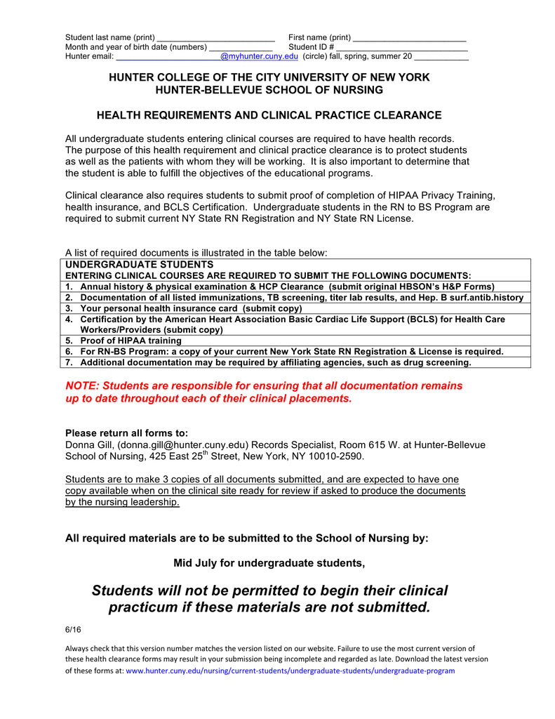 Undergraduate Clinical Clearance Forms - Hunter College