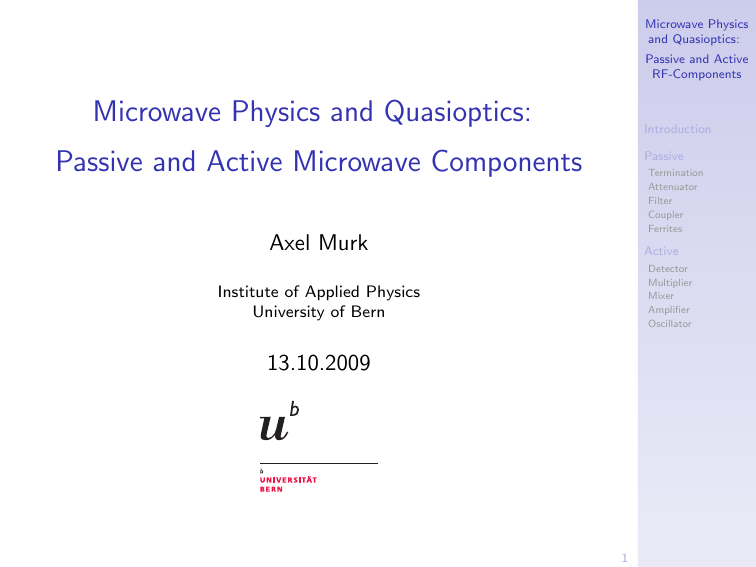 Passive and Active Microwave Components