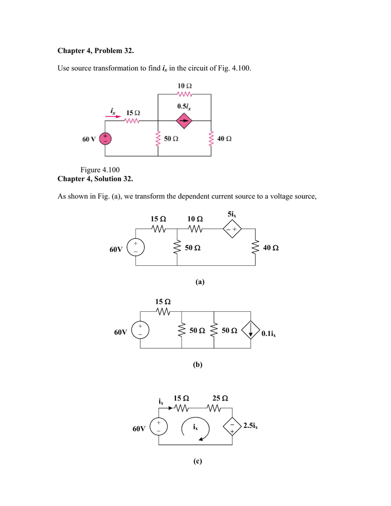 Chapter 4 Problem 32 Use Source Transformation To Find Ix In The Of A Dc Circuit Is 12v Shown Below