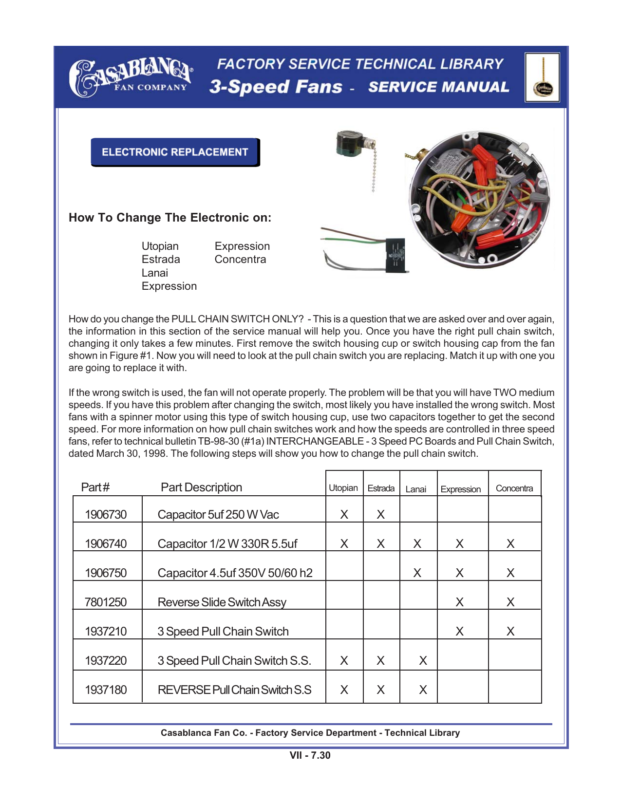 Casablanca Fan Repair Switch Wiring Diagram