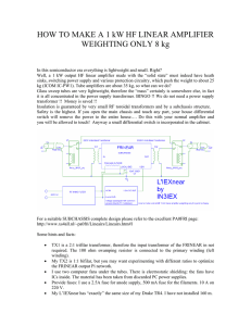 HOW TO MAKE A 1 kW HF LINEAR AMPLIFIER WEIGHTING ONLY