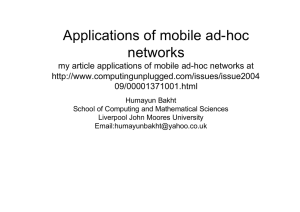 Application of mobile ad-hoc networks