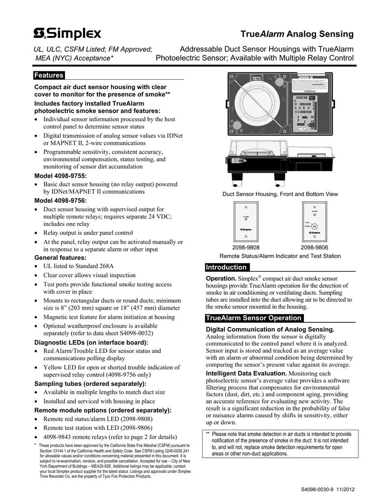 4098 9755 4098 9756 Truealarm Sensor Duct Housing With Sensor