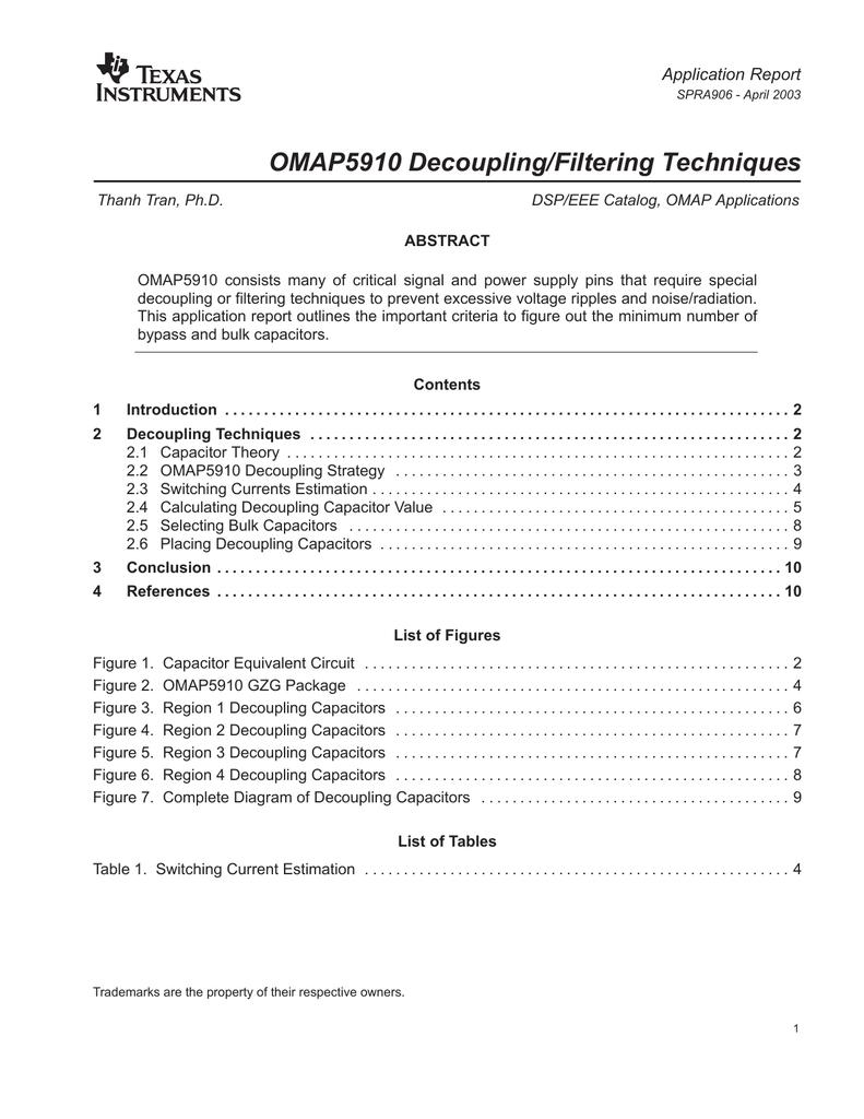 OMAP5910 Decoupling/Filtering Techniques