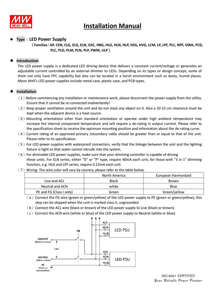 installation manual rh studylib net On Off LED Light Wiring Wiring LED Lights
