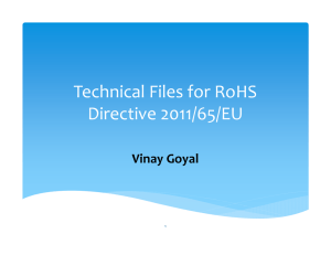 Technical Files for RoHS Directive 2011/65/EU