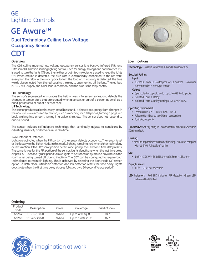 Ge Aware Dual Technology Ceiling Low Voltage Cdt Wiring Diagram