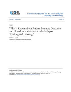 What is Known about Student Learning Outcomes and How does it