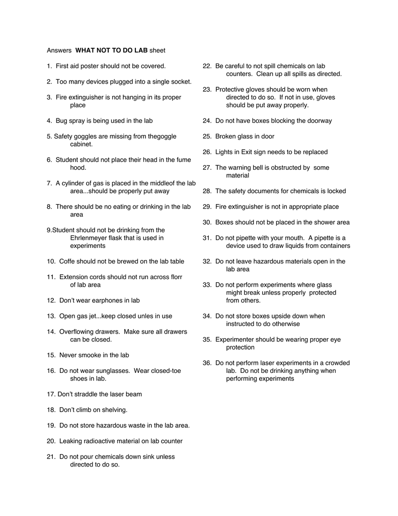 28 What Not To Do Laboratory Worksheet Answers Worksheet Resource Plans