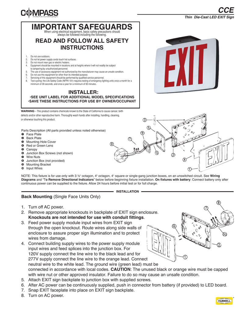 important safeguards Compass Lighting Products – Exit Sign Wiring-diagram 277v