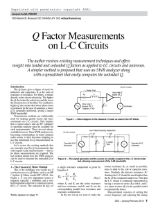 Q Factor Measurements on LC Circuits