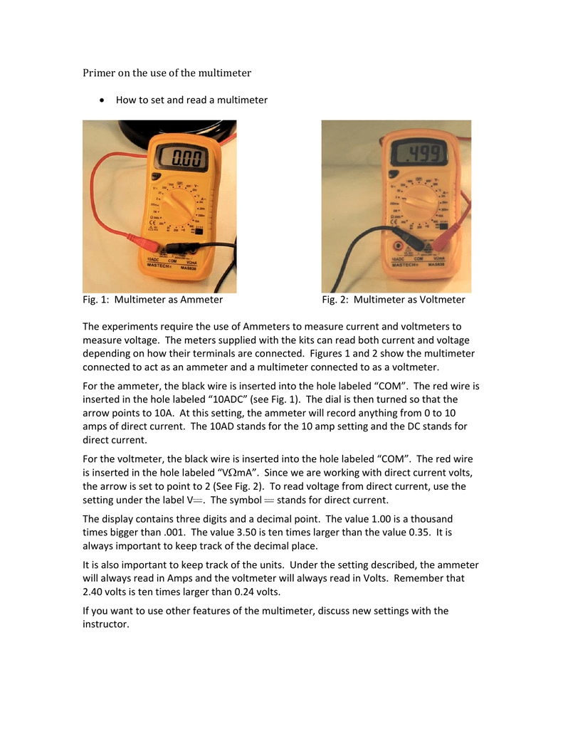 Primer on the use of the multimeter how to set and read a biocorpaavc Images