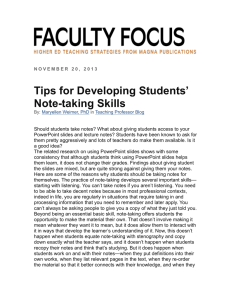 Tips for Developing Students` Note