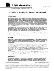 Nationall Recognized Testing Laboratories