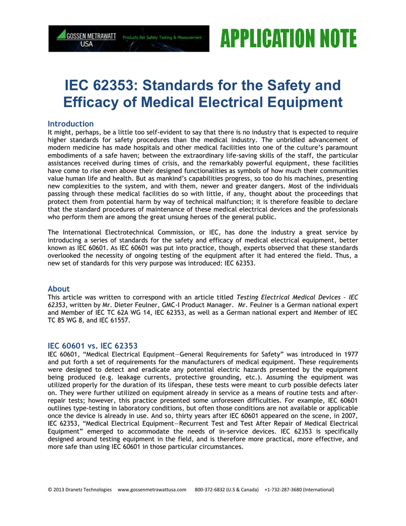 IEC 62353: Standards for the Safety and