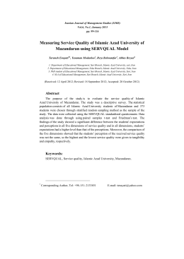 Measuring Service Quality of Islamic Azad University of Mazandaran
