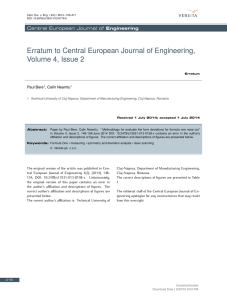 Erratum to Central European Journal of Engineering, Volume 4