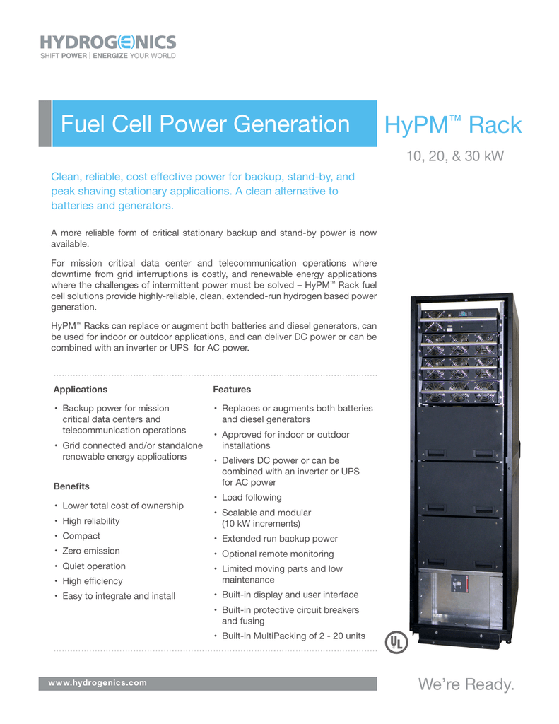 Fuel Cell Power Generation HyPM™ Rack