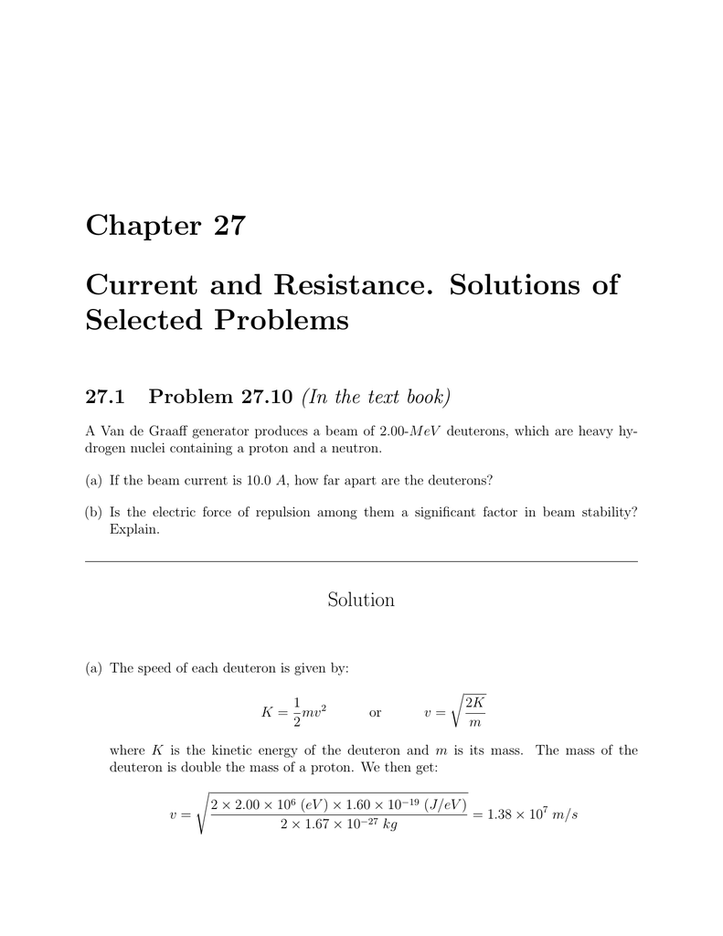 Chapter 27 Current and Resistance  Solutions of Selected