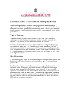 Standby Electric Generators for Emergency Power