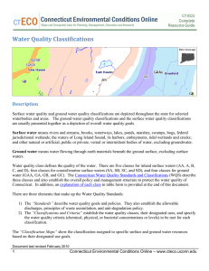 Water Quality Classifications