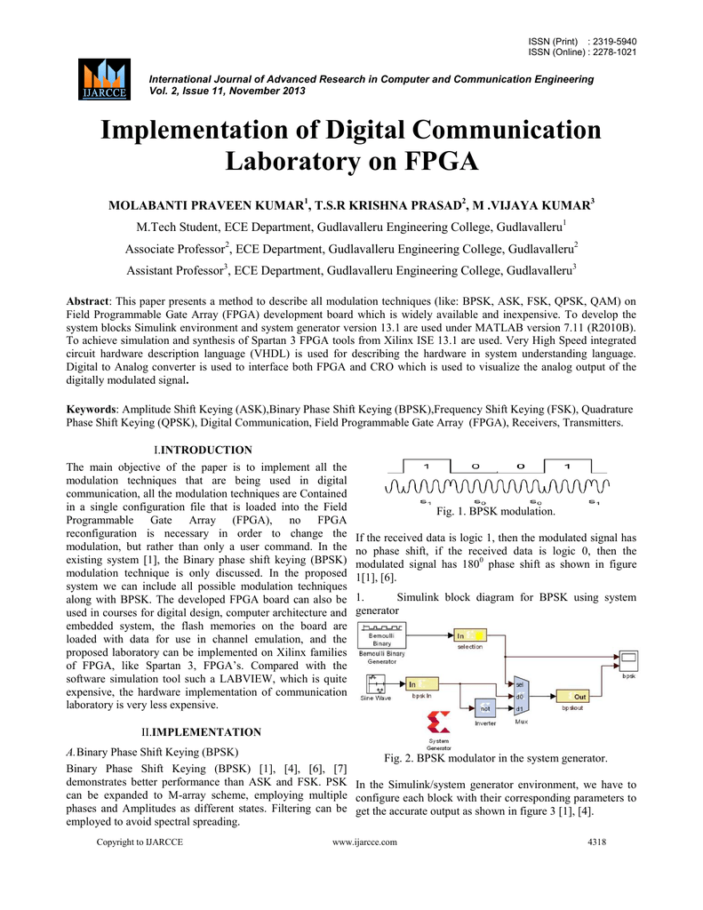 Implementation of Digital Communication Laboratory on
