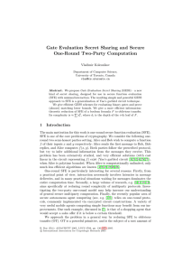Gate Evaluation Secret Sharing and Secure One-Round Two