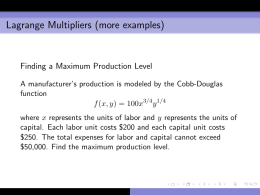 Lagrange Multipliers (more examples)