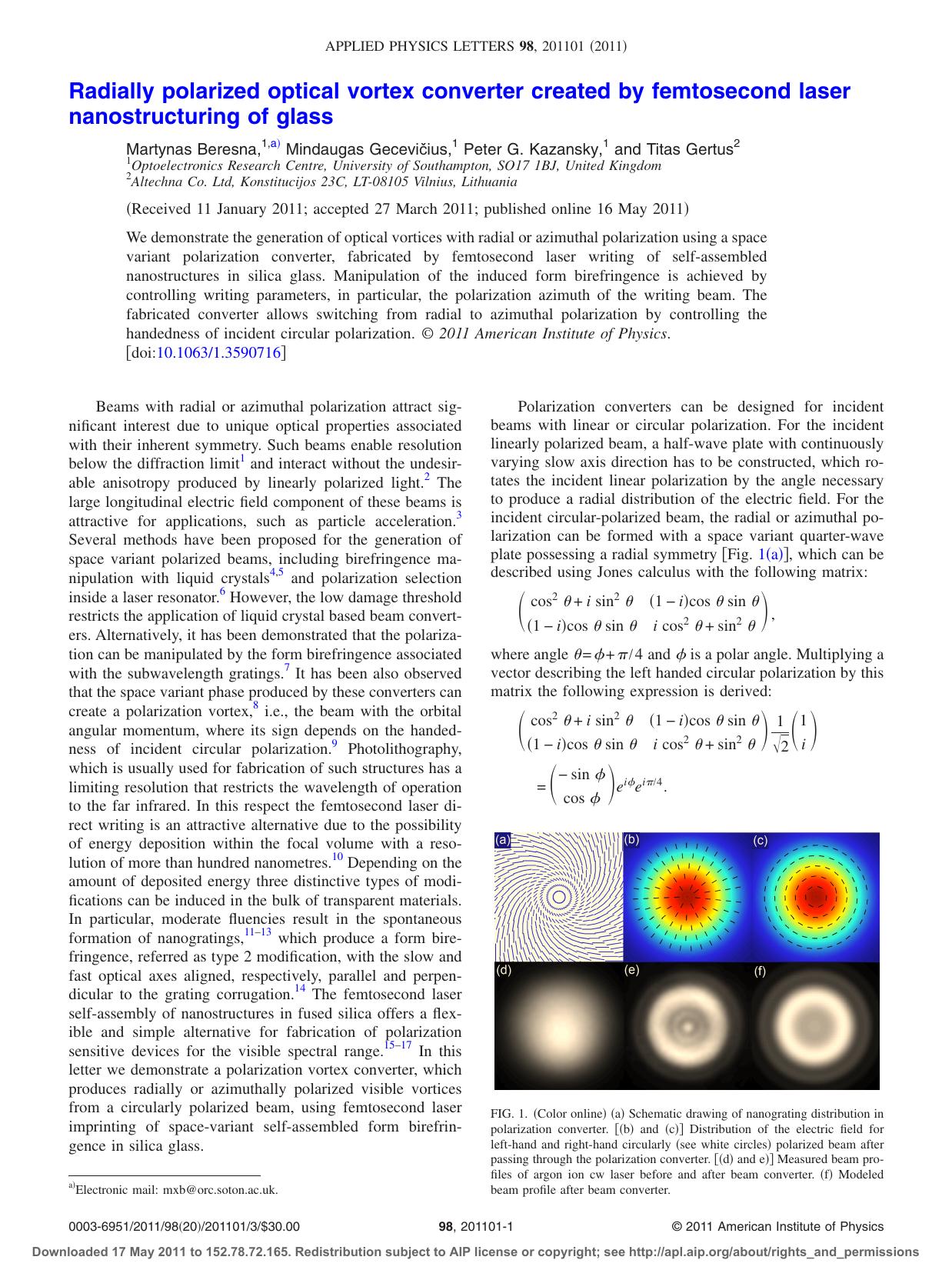 Radially polarized optical vortex converter created by