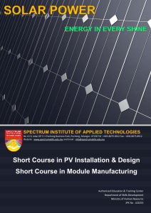 PV Installation and Design Training Programme