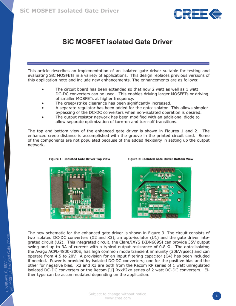 Sic Mosfet Isolated Gate Driver