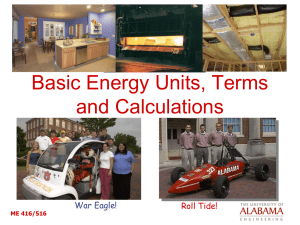 Basic Energy Units, Terms and Calculations