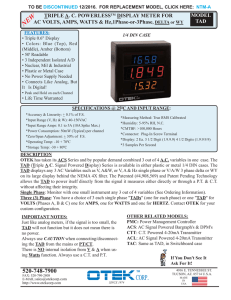 TRIPLE A. C. POWERLESSTM DISPLAY METER FOR AC VOLTS