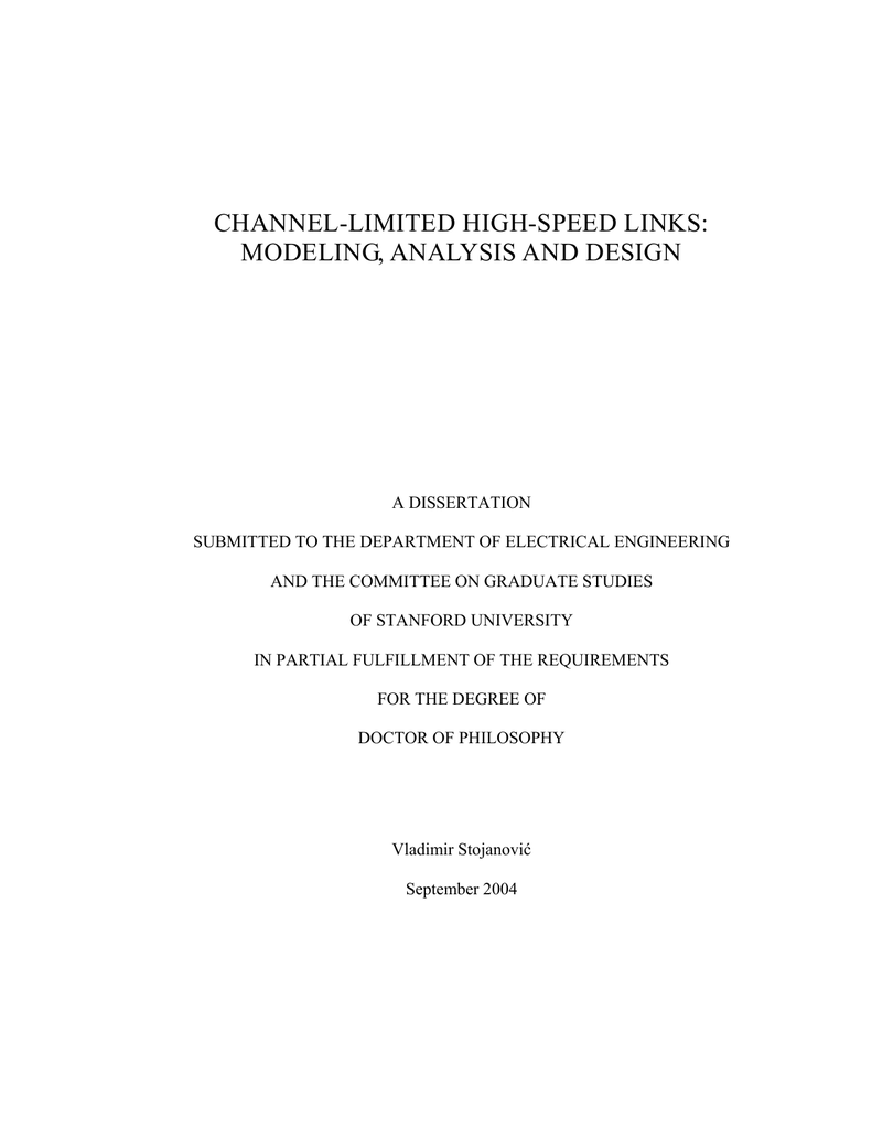 Modeling Analysis And Design Of High Speed Links Multi Gigabit Serial Link