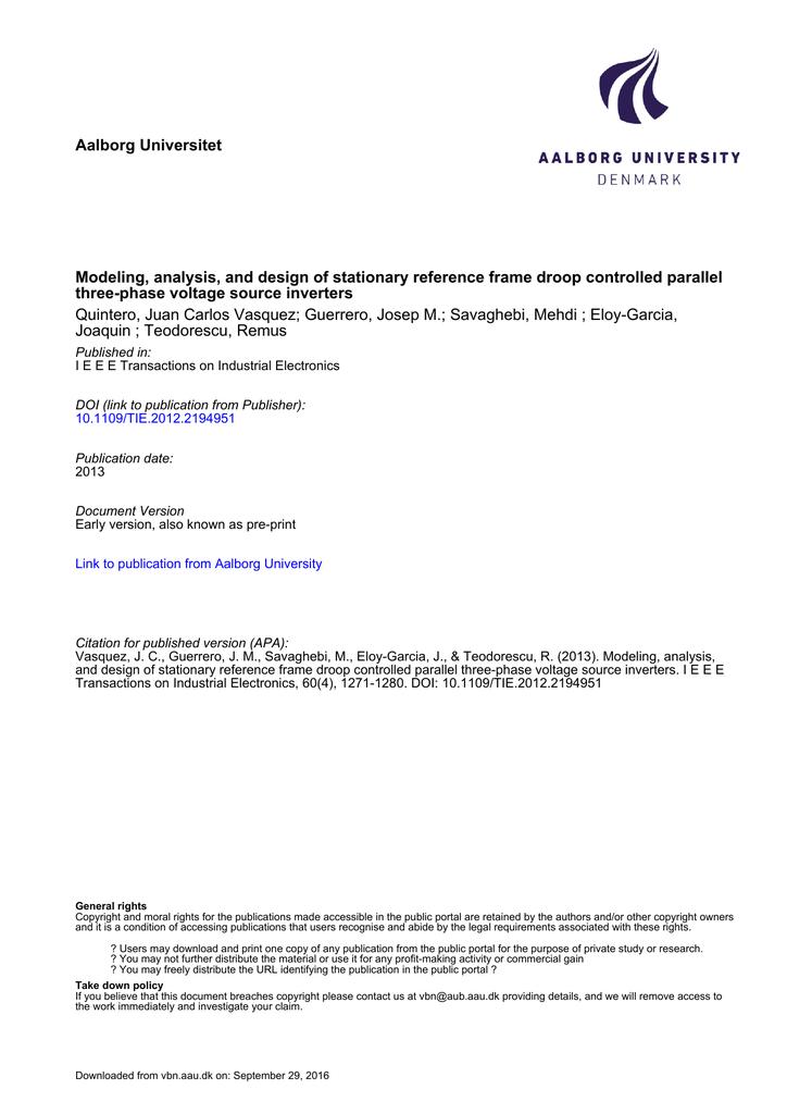 Aalborg Universitet Modeling, analysis, and design of stationary