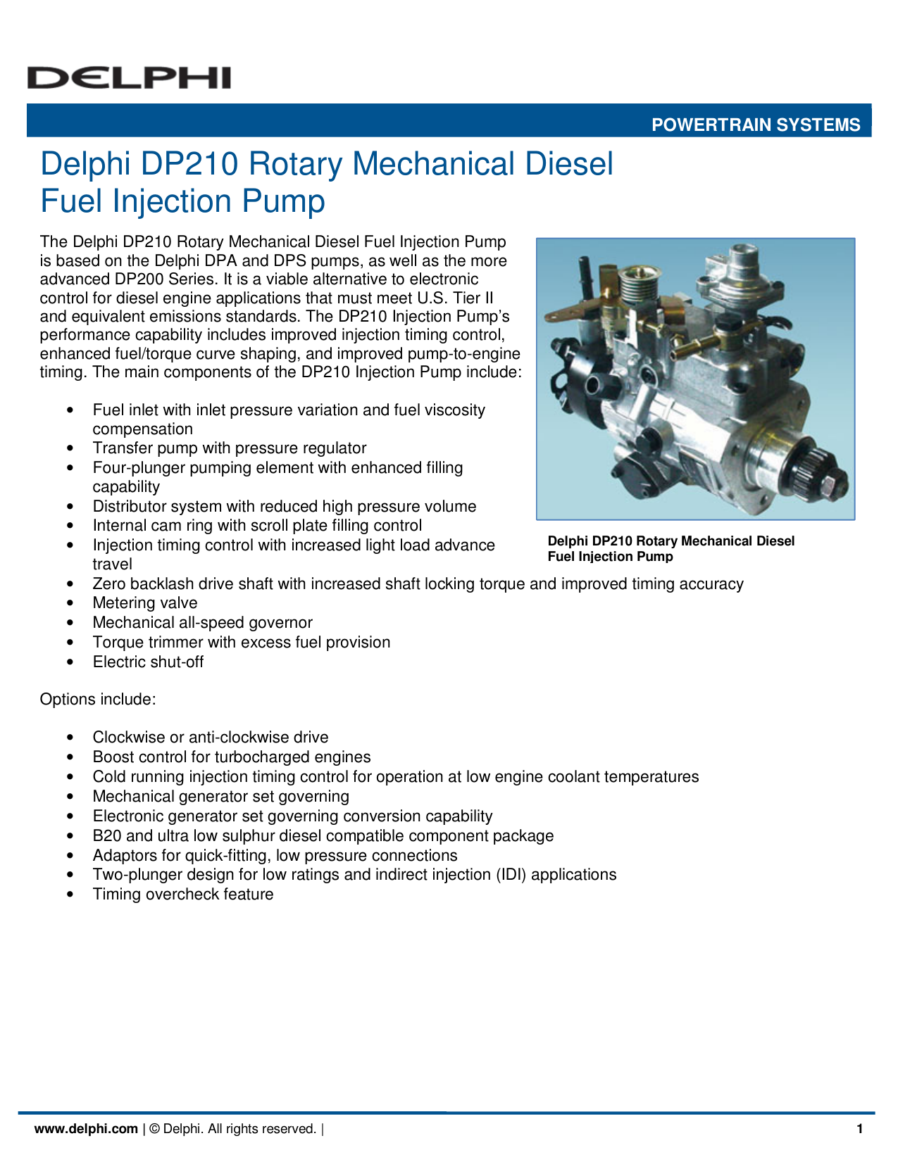 Delphi DP210 Rotary Mechanical Diesel Fuel Injection Pump