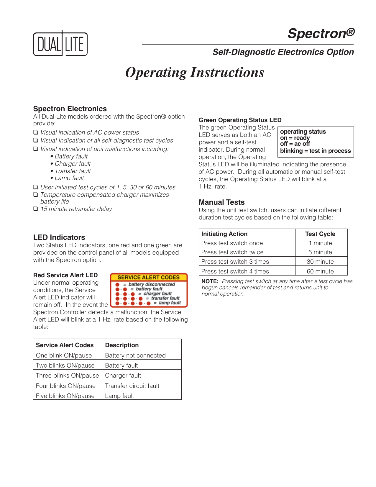 Operating Instructions Dual Lite Electronic Lamp Switch Including Time Delay Option