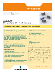 XE1209 Ultra-Low Power 30 - 70 kHz Transceiver
