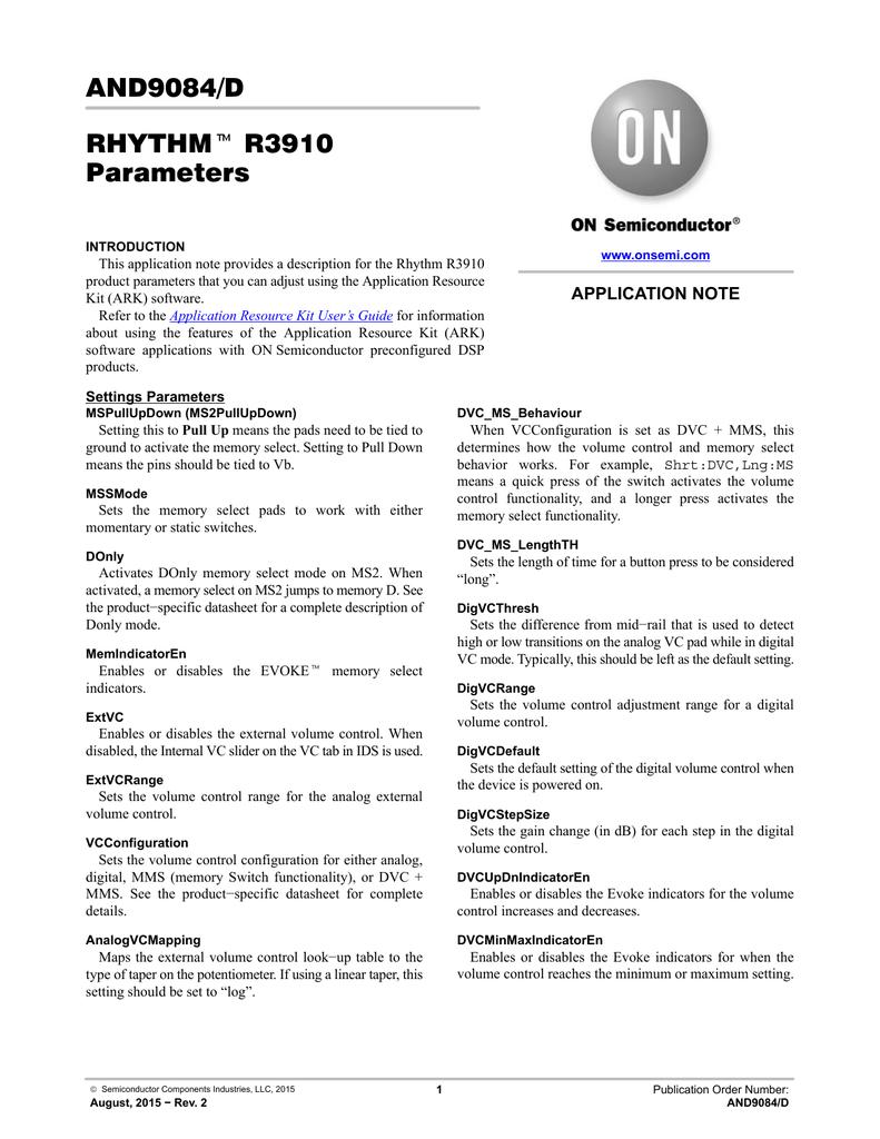 Rhythm R3910 Parameters
