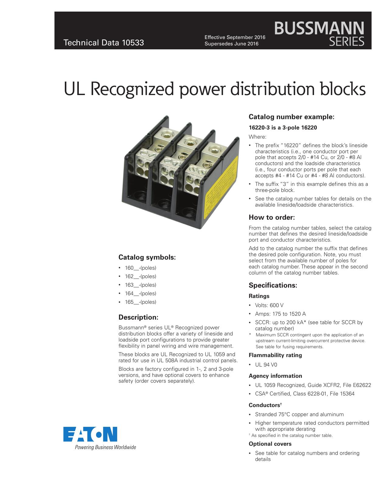 Bussmann series UL Recognized power distribution blocks data